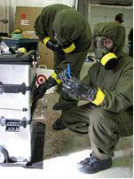 two employees training for helping first responders act in CBRN emergencies
