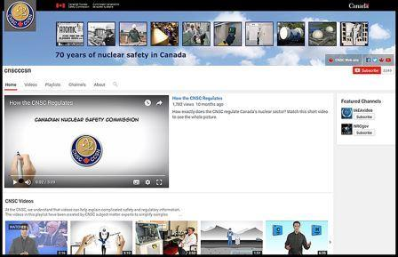 CNSC YouTube home page