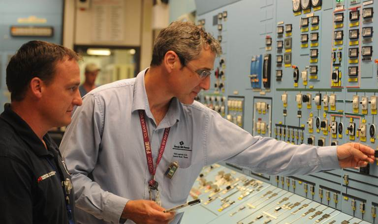 CNSC staff conducting an inspection at the Point Lepreau nuclear power plant
