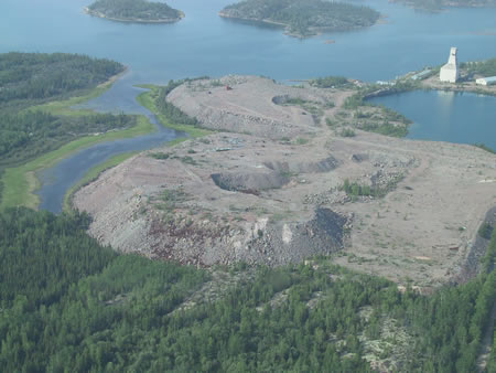 Aerial view of the Gunnar Legacy Uranium Mine Site